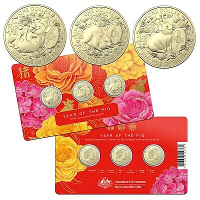 Australia 2019 Year of The Pig Set of 3 UNC AlBr $1 One Dollar Coins Carded RAM