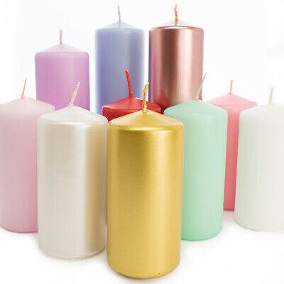 Coloured Pillar Candles - 12cm Tall / 6cm Wide - 20 Hours Burn Time