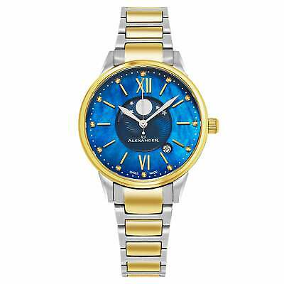Alexander Women's Swiss Made Moonphase 'vassilis' Two Tone Stainless Steel  Link