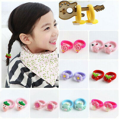 10Pcs Cartoon Candy Color Baby Girl Elastic Hair Ties Band Rope Ponytail Decor