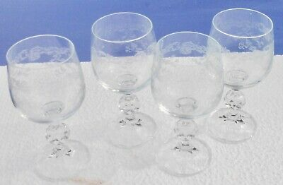 4 Old Lens Water in Crystal Baccarat Engraved a la Wheel HT 15 CM