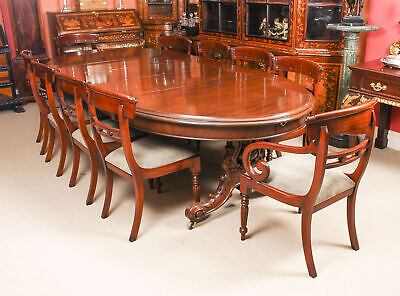 Antique Victorian Mahogany Twin Base Dining Table 19th C & 10 chairs
