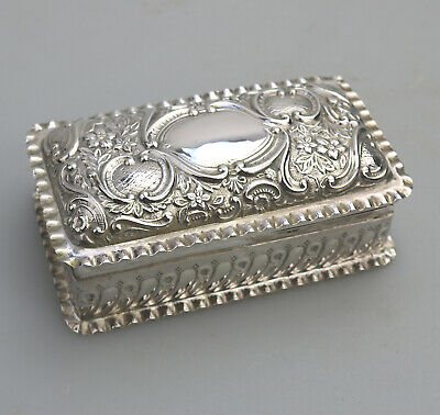 Antique Solid Silver a Victorian gilt lined repousse Box C.1899