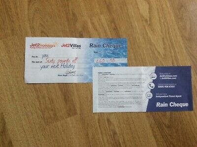Jet2 Holidays £60 Rain Cheque voucher valid for holidays up to  March 2020