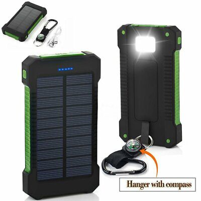 Waterproof 50000mAh 2 USB Solar Power Bank Battery LED Charger For Cell Phone