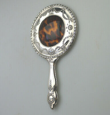 Antique Solid Silver a stylish & fine Hand Mirror Birm 1913