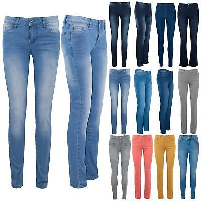 Womens Ladies Faded Skinny Slim Tight Fitted Full Ankle Length Denim Jeans Pants