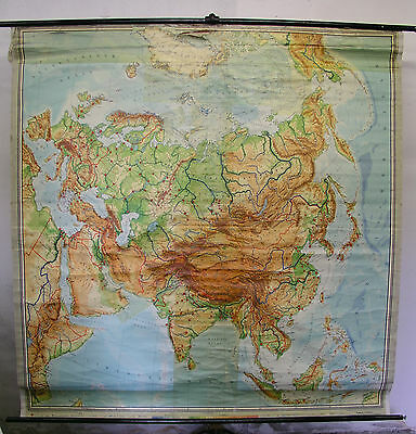 Schulwandkarte Wall Map Map Asia Vintage 1960+ Europe 207x209cm