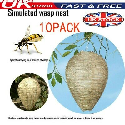 10Pack Anti Wasp Simulated Paper Decoy Wasp Nest Hanging Tree Pest Control Bee