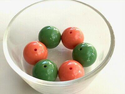 Pair Of Bakelite 24mm Bright Orange and Bright Green Loose Beads With Holes