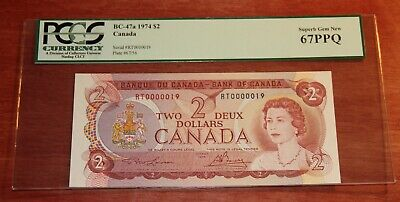 Bank of Canada $2 1974 BC.47a Extremely Low No.19 PCGS 67 PPQ Superb Gem New