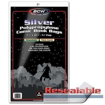 "1 Case 1000 BCW Resealable Silver Regular 7 1/4"" Thick Comic Book Storage Bags"