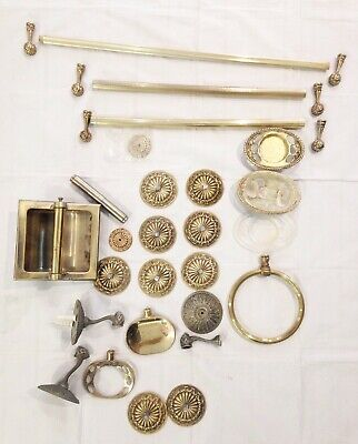 LOT vtg 1968 American Tack architectural salvage brass ornate bathroom hardware