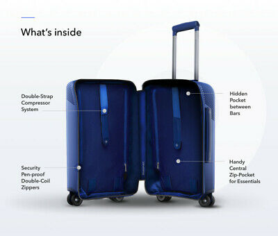 """Bluesmart Smart Carry - On  Luggage 22"""" x 14"""" x 9"""" Suitcases - BLUE"""