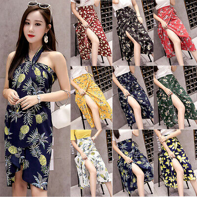 Women Vintage Boho Long Maxi Skirt Chiffon Floral Summer Beach Wrap Sun Dress US