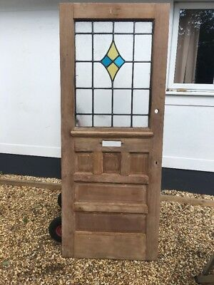 20s 30s STAINED GLASS  FRONT DOOR OLD PERIOD RECLAIMED ANTIQUE SALVAGE WOOD LEAD