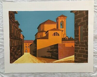 Vintage Color Landscape Cityscape Art Drawing Print Hand Signed Limited Edition
