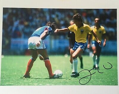 Zico signed 10x8 Brazil photo Image B UACC AFTAL registered dealer COA RACC