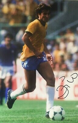 Zico signed 12x8 Brazil photo Image E  UACC AFTAL registered dealer COA RACC