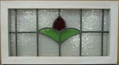 "MIDSIZE OLD ENGLISH LEADED STAINED GLASS WINDOW Pretty Simple Floral 23.5"" x 13"""