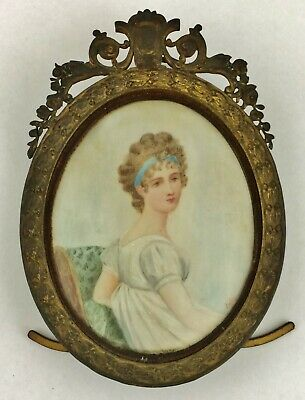 Antiques Decorative Arts Antique Miniature Wafer Painting 18thc French Lady Wooden Frame Without Return