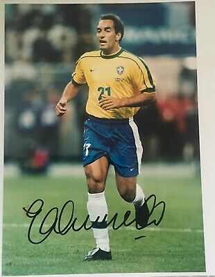 Edmundo signed 10x8 Brazil photo Image A UACC AFTAL registered dealer COA RACC
