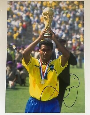 Romario signed 10x8 Brazil photo Image A UACC AFTAL registered dealer COA RACC