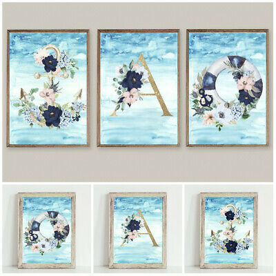 Set of 3 Nautical Letter Prints Wall Art Typography Home Decor Gift Beach Anchor