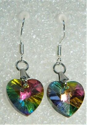 Earrings handcrafted mystic topaz faceted crystal hearts shimmering .925 f/hooks