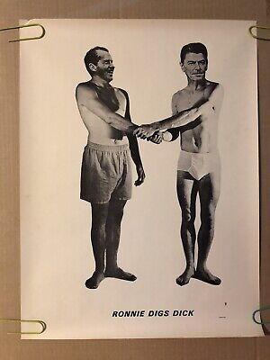 Ronnie digs Dick Nixon Reagan underwear Vintage political satire poster pin-up