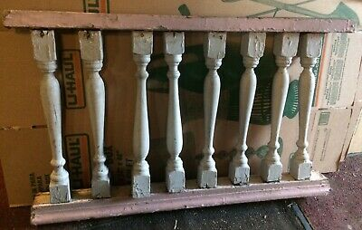 "Great Old Victorian Porch Blue spindle baluster 44"" x 27"" Architectural Salvage"