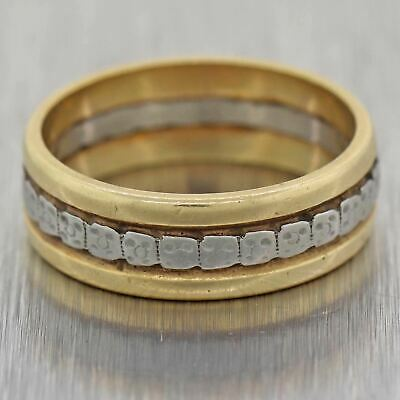 1930s Antique Art Deco Estate 14k Two Tone Gold 5mm Wide Engraved Band Ring
