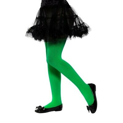 Opaque Green Tights Girls Fancy Dress Accessory Ages 6-12 Years Fancy Dress