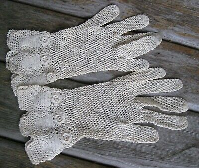 Vintage Crochet Ladies Ecru Gloves Victorian Shabby Chic Roses SO dainty!
