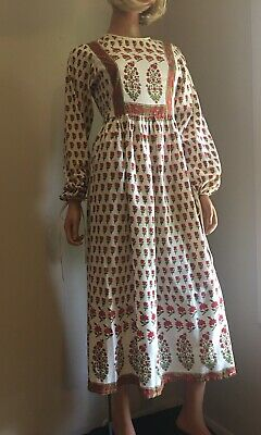 f81bfa0b00 70S VINTAGE MEXICAN Caftan Dress Floral Embroidered Boho Hippie ...