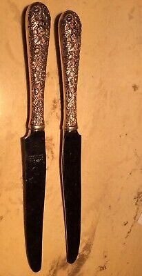 "1-ONE-KIRK & SON REPOUSSE STERLING FLATWARE-DINNER-KNIFE 9 3/4"" More Available"