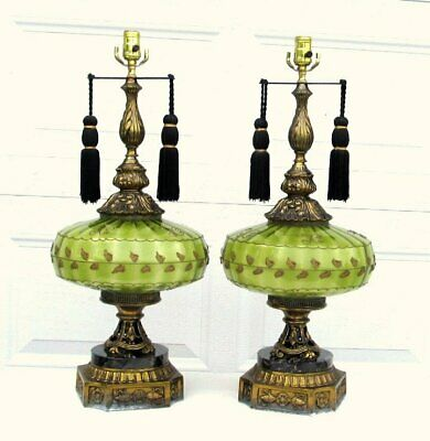 Large Pair Vintage Lime Green Glass Cast Metal Hollywood Regency Table Lamp