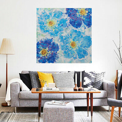 Pure Hand Painted Modern Art Canvas Oil Painting Home Decor Framed Blue Flowers