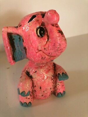 Vintage LEGO MCM Bobble Head Coin Bank Pink Elephant Retro  Chalkware With Label