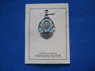 Vintage Religious Sterling Silver Blue Enamel Guilloche MIRACULOUS MEDAL by HMH