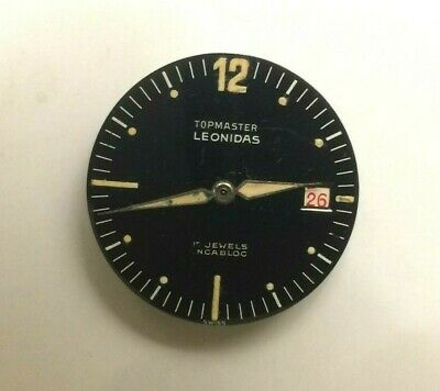 LEONIDAS Pre-Heuer Topmaster movement Dial Hands day indicator with Red numerals