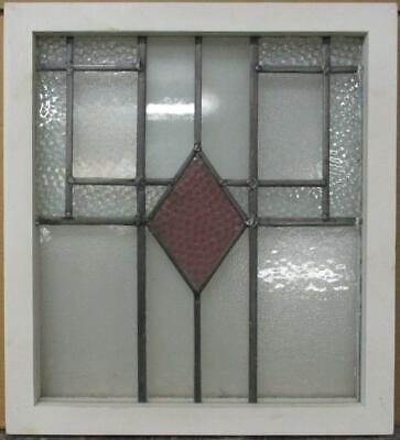"OLD ENGLISH LEADED STAINED GLASS WINDOW Gorgeous Diamond Design 18.5"" x 20.25"""
