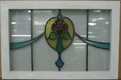 "OLD ENGLISH LEADED STAINED GLASS WINDOW TRANSOM Nice Floral Swag 26.25"" x 17.5"""
