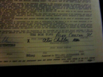 Alex Chilton of The Box Tops Signed Contract