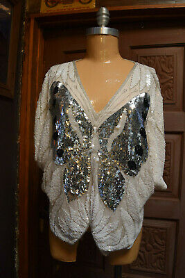 VINTAGE SWEE LO Womens Embellished Sequin Butterfly Black & White Evening Top