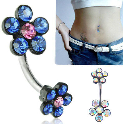 Fashion Women Crystal Navel Ring Belly Button Rings Dangle Pendant Body Piercing
