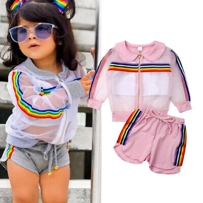 USA Newborn Kids Baby Girls Rainbow Tops Pants Shorts Sportswear Outfits Clothes