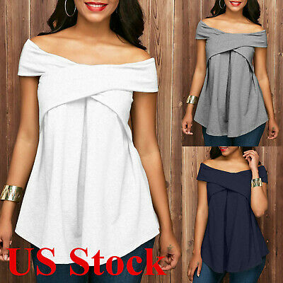 Women's Sexy Boat Neck Short Sleeve T-Shirt Tunic Top Off Shoulder Summer Blouse