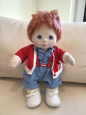 My Child Doll Boy Blue Eyes Red Hair Mattel 1985 Blue Suit Red Cardi Nappy Shoes