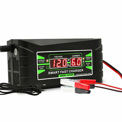 Intelligent 12V 6A Automobile  Lead Acid Battery Charger Car Motorcycle EU Plug